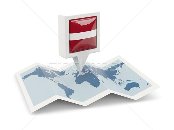 Vierkante pin vlag Letland kaart reizen Stockfoto © MikhailMishchenko