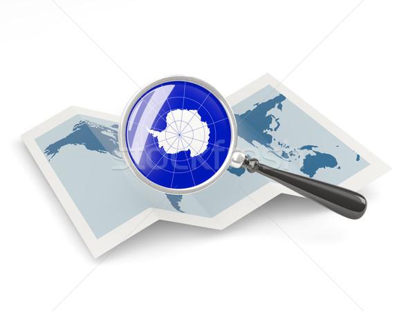 拡大された フラグ 地図 白 検索 ストックフォト © MikhailMishchenko