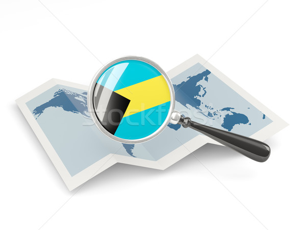 Magnified flag of bahamas with map Stock photo © MikhailMishchenko