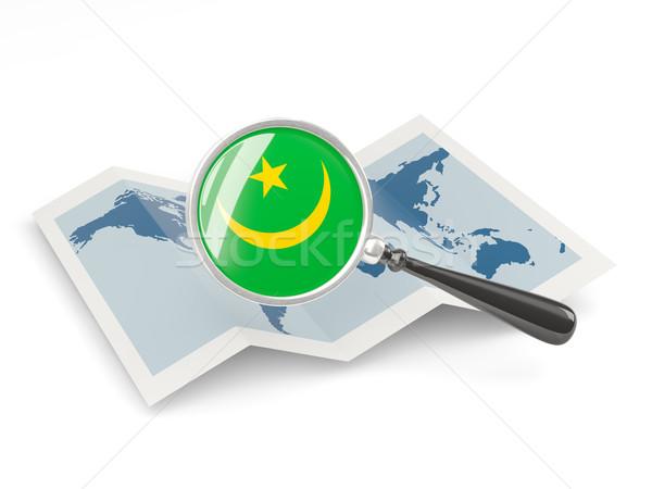 Magnified flag of mauritania with map Stock photo © MikhailMishchenko