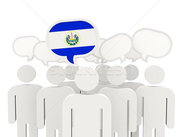Pessoas bandeira El Salvador isolado branco reunião Foto stock © MikhailMishchenko