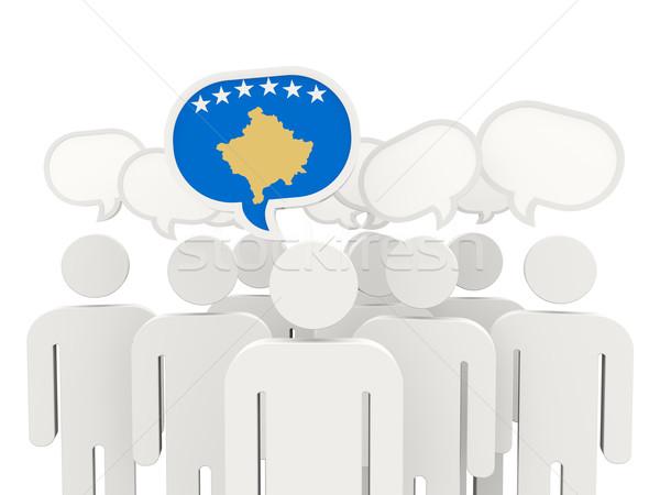 Pessoas bandeira Kosovo isolado branco reunião Foto stock © MikhailMishchenko