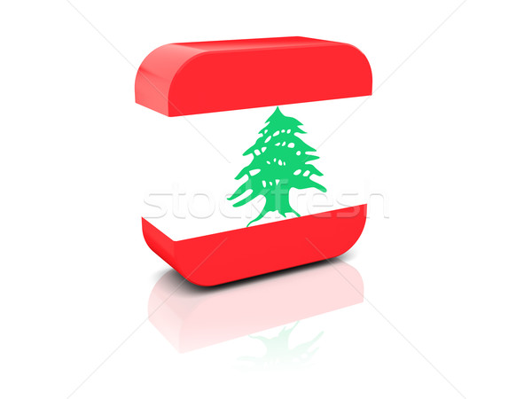 ストックフォト: 広場 · アイコン · フラグ · レバノン · 反射 · 白
