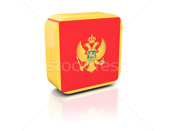 квадратный икона флаг Черногория отражение белый Сток-фото © MikhailMishchenko