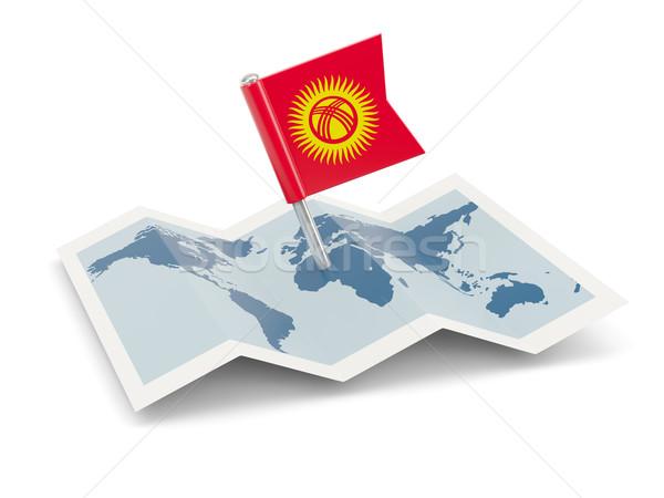Harita bayrak Kırgızistan yalıtılmış beyaz Stok fotoğraf © MikhailMishchenko