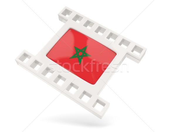 Film icon vlag Marokko geïsoleerd witte Stockfoto © MikhailMishchenko