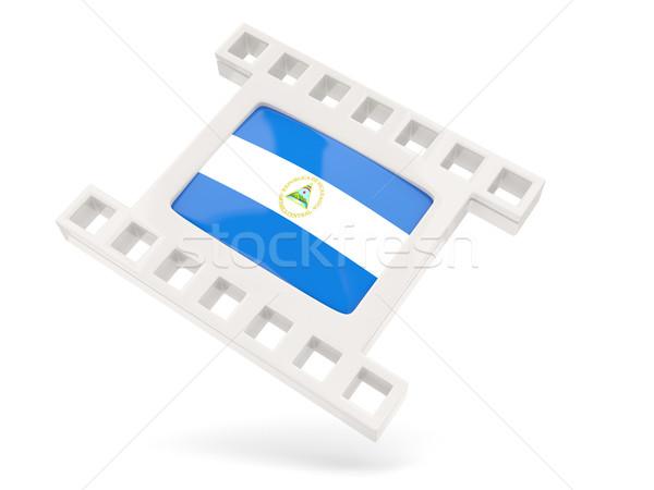 Film ikon zászló Nicaragua izolált fehér Stock fotó © MikhailMishchenko
