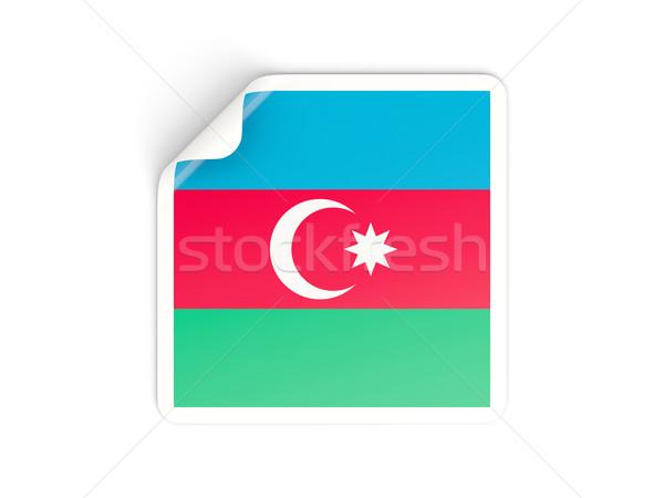 Foto stock: Cuadrados · etiqueta · bandera · Azerbaiyán · aislado · blanco