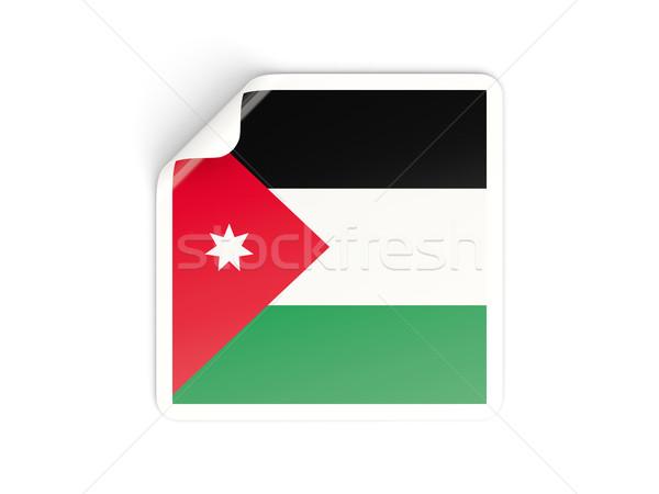 Platz Aufkleber Flagge Jordan isoliert weiß Stock foto © MikhailMishchenko