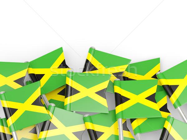 Bayrak pin Jamaika yalıtılmış beyaz arka plan Stok fotoğraf © MikhailMishchenko
