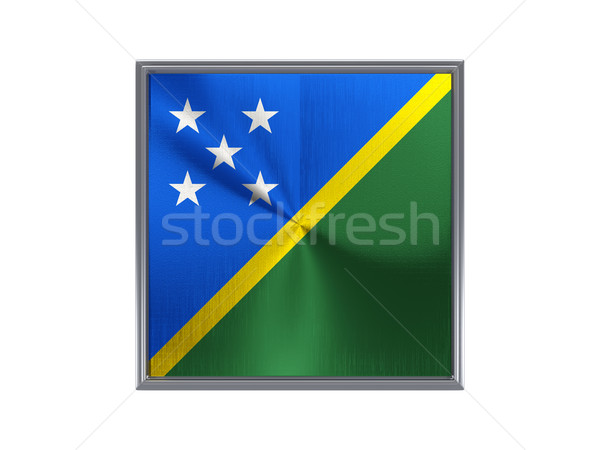 Square metal button with flag of solomon islands Stock photo © MikhailMishchenko