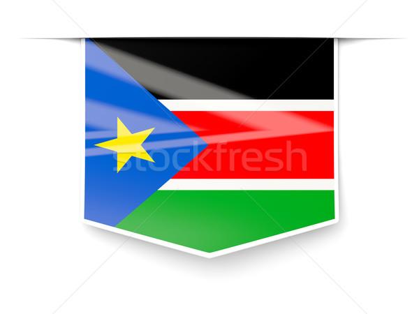 Vierkante label vlag zuiden Soedan geïsoleerd Stockfoto © MikhailMishchenko