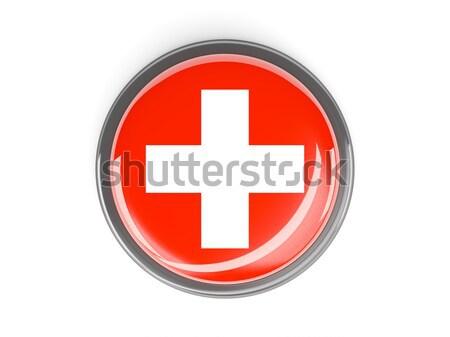 Przycisk banderą Szwajcaria metal ramki podróży Zdjęcia stock © MikhailMishchenko