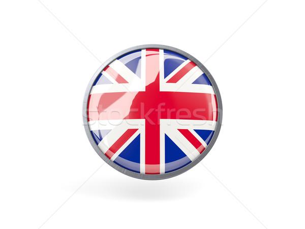 Ikon zászló Egyesült Királyság fém keret utazás Stock fotó © MikhailMishchenko