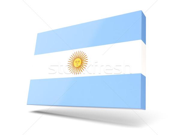Stockfoto: Vierkante · icon · vlag · Argentinië · geïsoleerd · witte
