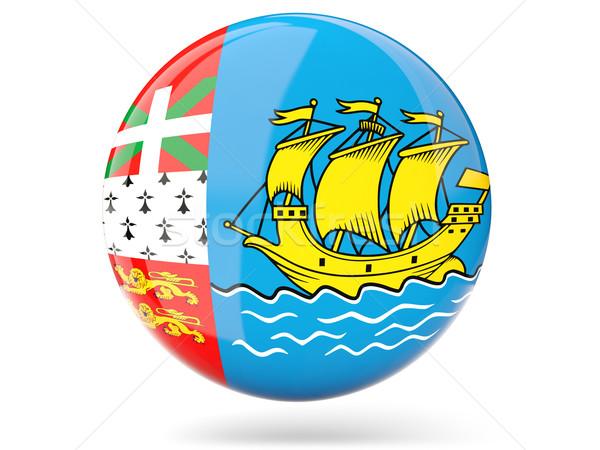 Round icon with flag of saint pierre and miquelon Stock photo © MikhailMishchenko