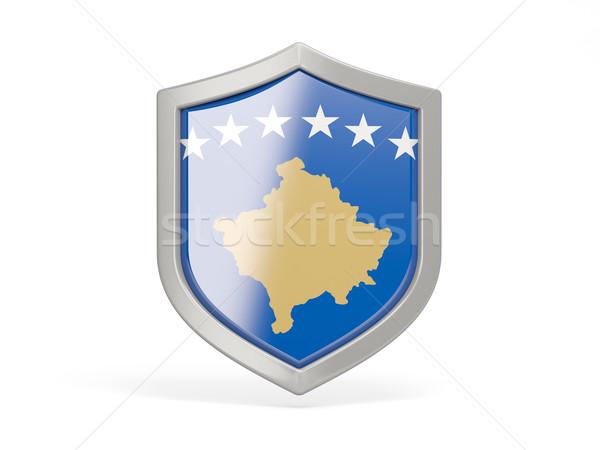Escudo ícone bandeira Kosovo isolado branco Foto stock © MikhailMishchenko