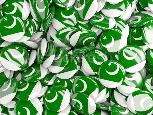 Vlag Pakistan achtergrond land pin cirkel Stockfoto © MikhailMishchenko