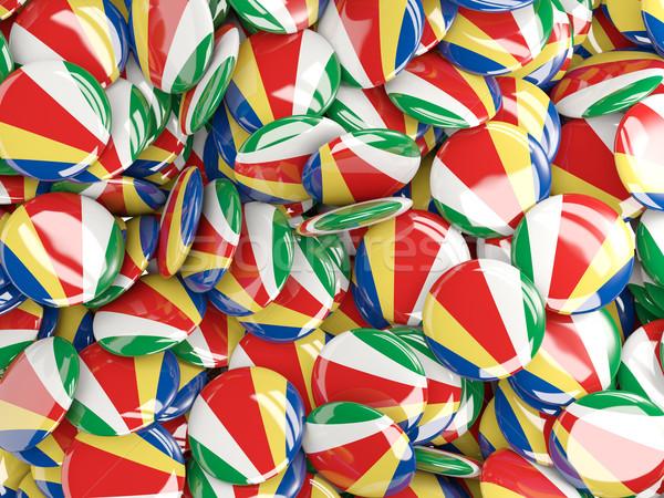 Vlag Seychellen achtergrond land pin cirkel Stockfoto © MikhailMishchenko