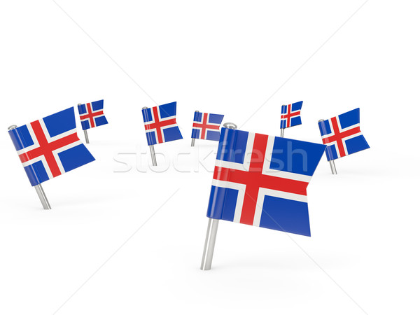 Stock photo: Square pins with flag of iceland