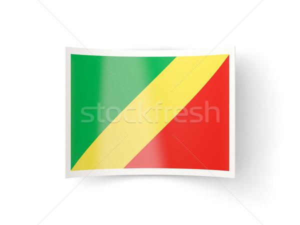 Ikon bayrak cumhuriyet Kongo yalıtılmış beyaz Stok fotoğraf © MikhailMishchenko