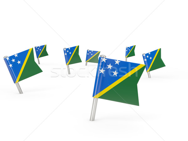 Square pins with flag of solomon islands Stock photo © MikhailMishchenko