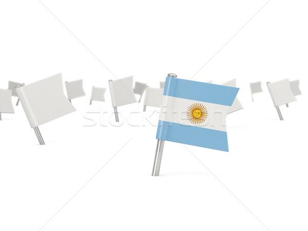 Vierkante pin vlag Argentinië geïsoleerd witte Stockfoto © MikhailMishchenko