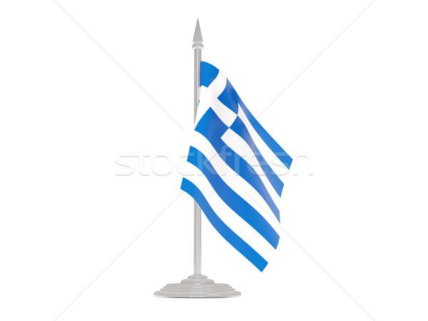 Banderą Grecja maszt 3d odizolowany biały Zdjęcia stock © MikhailMishchenko
