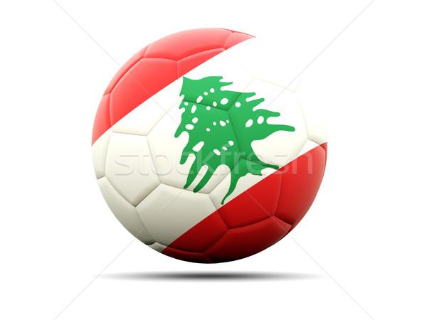 Futball zászló Libanon 3d illusztráció futball sport Stock fotó © MikhailMishchenko