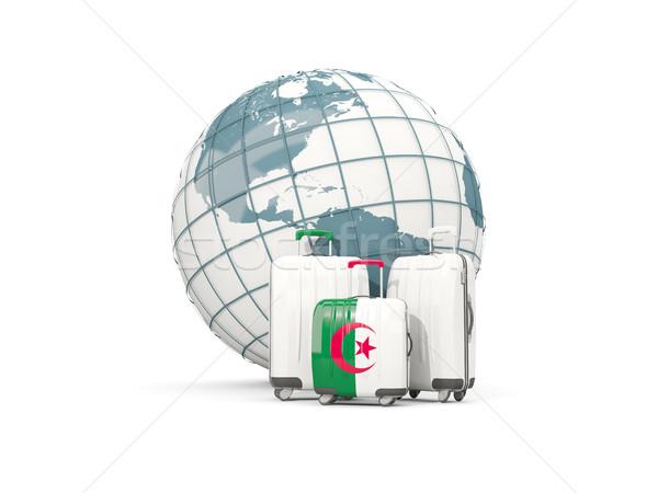 Bagages pavillon trois sacs monde 3d illustration Photo stock © MikhailMishchenko