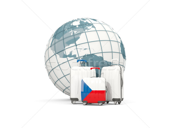Luggage with flag of czech republic. Three bags in front of glob Stock photo © MikhailMishchenko