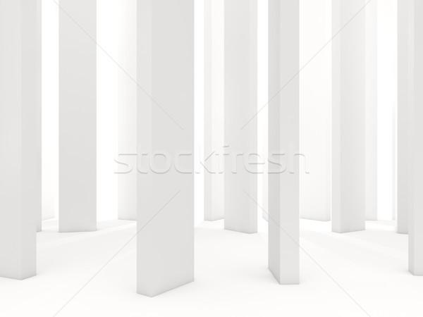 Biały kolumny odizolowany 3d ilustracji Zdjęcia stock © MikhailMishchenko