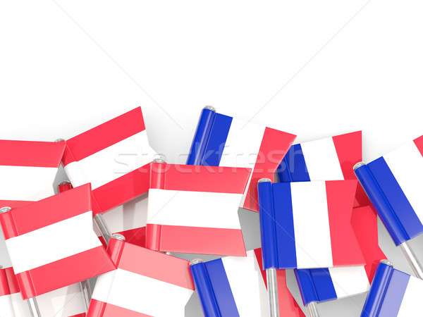 Flag pins of Austria and France isolated on white Stock photo © MikhailMishchenko