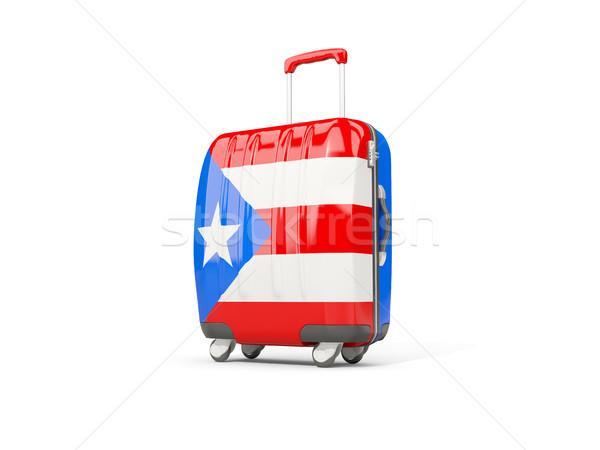 Stockfoto: Bagage · vlag · koffer · geïsoleerd · witte · 3d · illustration