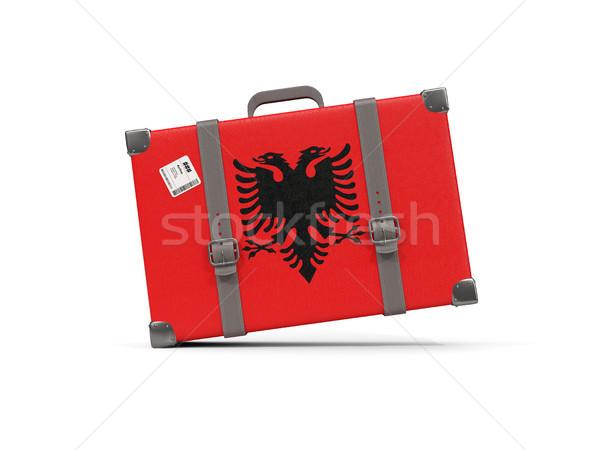 Luggage with flag of albania. Suitcase isolated on white Stock photo © MikhailMishchenko