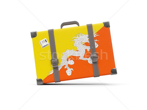 Equipaje bandera Bután maleta aislado blanco Foto stock © MikhailMishchenko