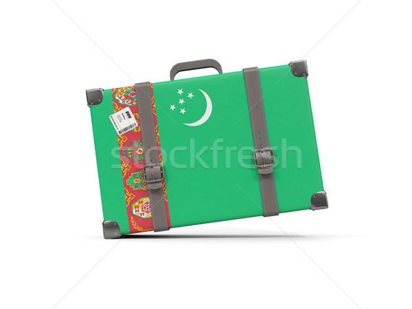 Csomagok zászló Türkmenisztán bőrönd izolált fehér Stock fotó © MikhailMishchenko