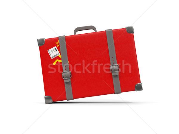 Equipaje bandera urss maleta aislado blanco Foto stock © MikhailMishchenko