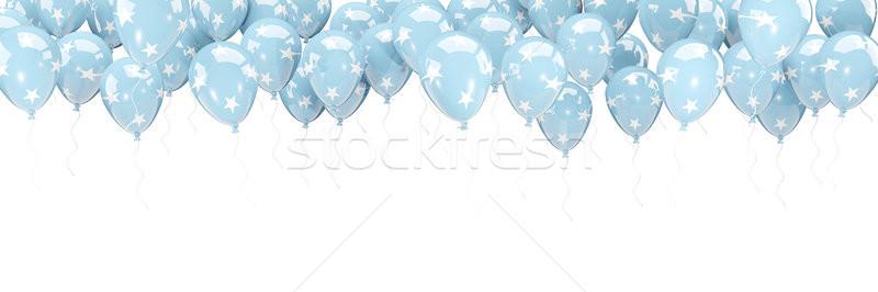 Balões quadro bandeira Micronésia isolado branco Foto stock © MikhailMishchenko