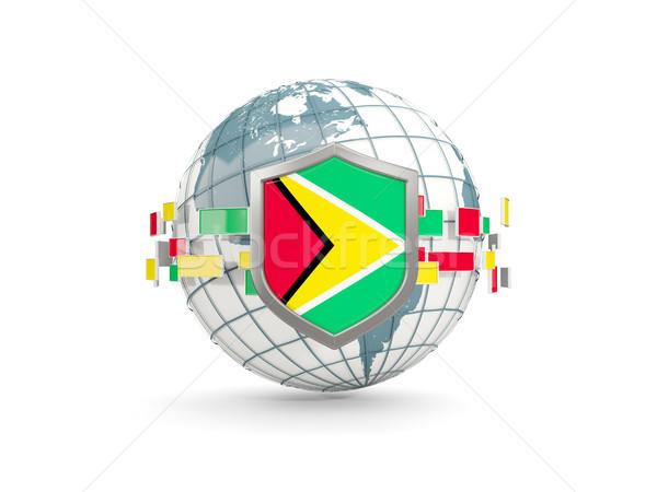 Földgömb pajzs zászló Guyana izolált fehér Stock fotó © MikhailMishchenko