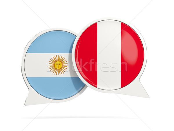 Sohbet kabarcıklar Arjantin Peru yalıtılmış beyaz Stok fotoğraf © MikhailMishchenko