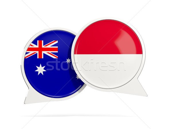 Chat bubbles of Australia and Indonesia isolated on white Stock photo © MikhailMishchenko