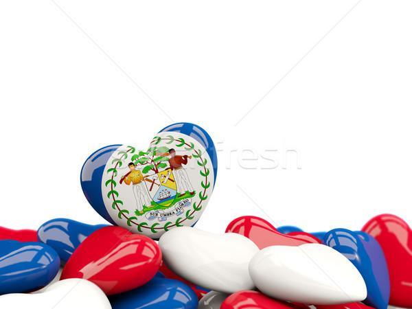 Szív zászló Belize felső szívek izolált Stock fotó © MikhailMishchenko