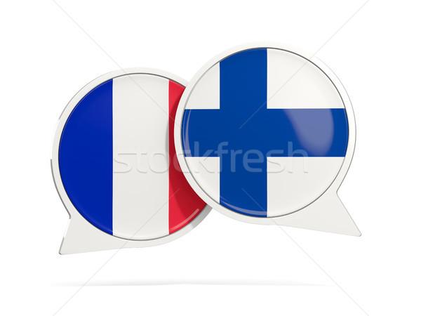 Chat pęcherzyki Francja Finlandia odizolowany biały Zdjęcia stock © MikhailMishchenko