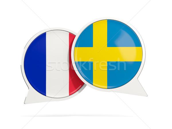Conversar bubbles França Suécia isolado branco Foto stock © MikhailMishchenko