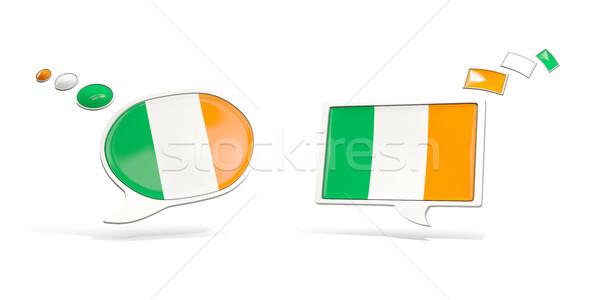Two chat icons with flag of ireland Stock photo © MikhailMishchenko