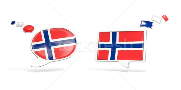 Dwa chat ikona banderą Norwegia placu Zdjęcia stock © MikhailMishchenko