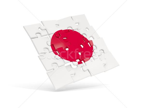 Puzzel vlag Japan geïsoleerd witte 3d illustration Stockfoto © MikhailMishchenko