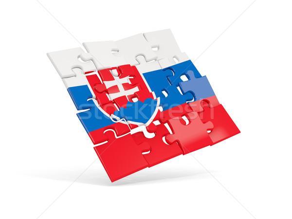 Puzzel vlag Slowakije geïsoleerd witte 3d illustration Stockfoto © MikhailMishchenko