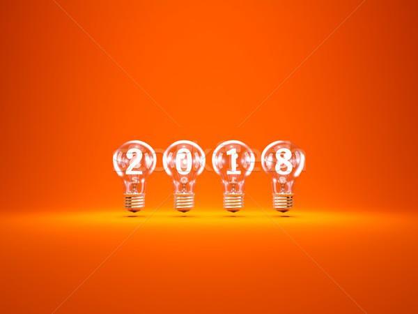 Zdjęcia stock: Nowy · rok · podpisania · wewnątrz · żarówki · pomarańczowy · 3d · ilustracji
